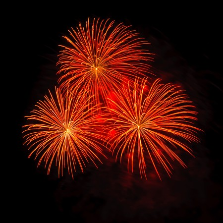 Fireworks at Pattaya beach, Thailand Stock Photo