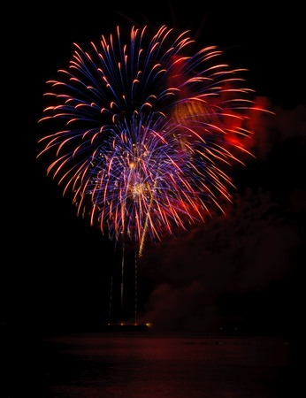 Fireworks in the sea at Pattaya beach, Thailand photo