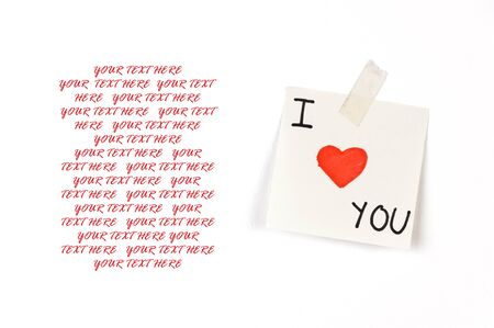 message pad: I love you note on white background with a copyspace