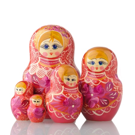 Russian Nested Dolls on white blackground Stock Photo