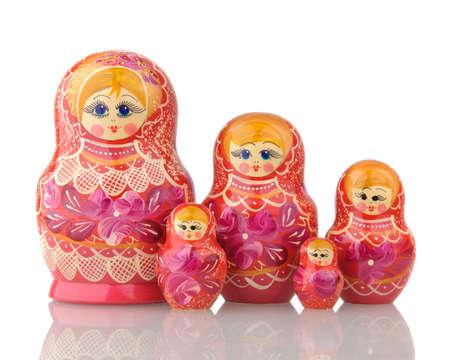 russian nested dolls: Russian Nested Dolls on white blackground Stock Photo