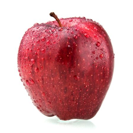 red apple isolated on white with drop of water photo