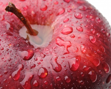 Macro shot of red apple with drops of water. photo