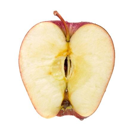 mela rossa: met� della mela rossa isolata on white Archivio Fotografico