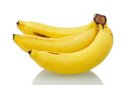 bananas on white background with reflection photo
