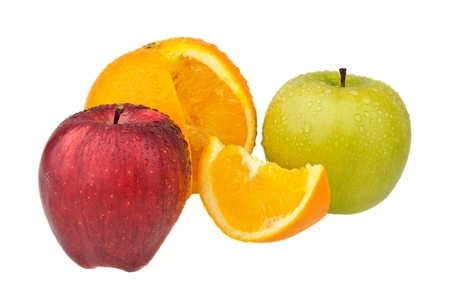 Two apples and orange isolated on white photo