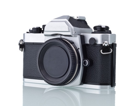 Front of classic and antique camera with no lense isolated on white Stock Photo - 9138015