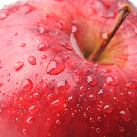 fruit drop: Macro shot of red apple with drops of water.