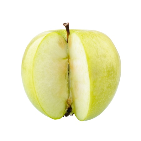 Sliced green apple isolated over a white background photo