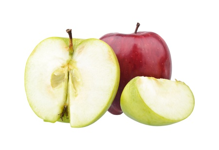 Red and green apples  isolated on white photo