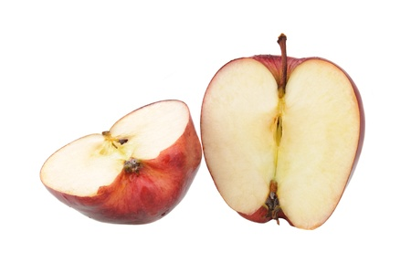 two and a half: red apple cut in half on white background