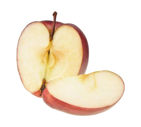 Half of red apple and a slice isolated over a white background photo