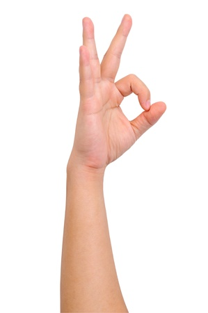 Human okay hand sign isolated on white