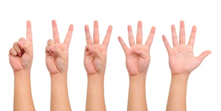Compilation of counting hand sign  isolated on white Stock Photo
