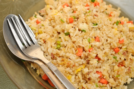 Home made and Thai style crab meat fried rice Stock Photo