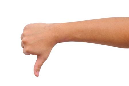 pulgar abajo: Pulgar en se�al de mano aislados en blanco Foto de archivo
