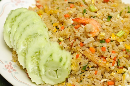 Home made and Thai style crab meat and shrimp fried rice photo