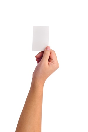 Hand and a card isolated on white Stock Photo - 9357086