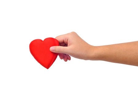 Hand giving heart isolated on white photo