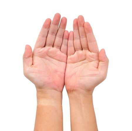 manos abiertas: Dos abrir mano aislado en blanco Foto de archivo