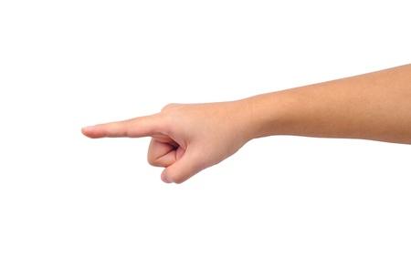 dedo se�alando: Mano apuntando aislado en blanco Foto de archivo