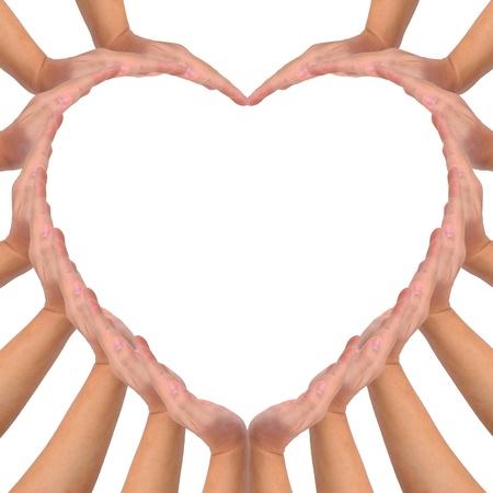 corazon en la mano: Conceptual s�mbolo de amor. Manos haciendo una forma de coraz�n en fondo blanco con un espacio en el medio de copia Foto de archivo