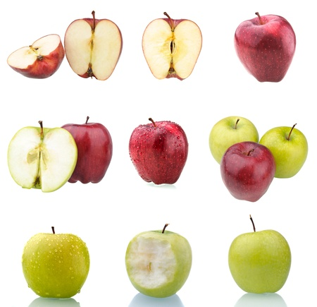 Collection of red and green apples isolated on white. These and other fruits are also available in full size in my portfolio. Stock Photo - 9451795