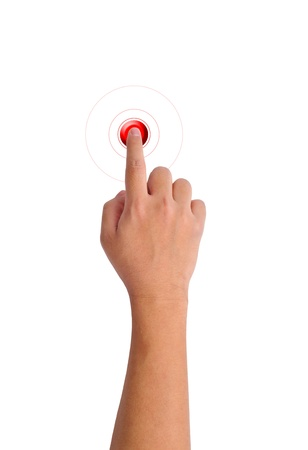 push button: hand pushing a red button on a white background