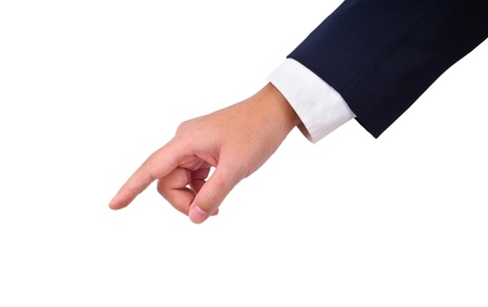 the left: Business mans hand  pointing down isolated on white