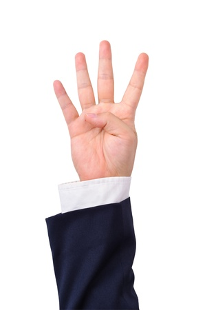 Business mans hand sign isolated on white photo