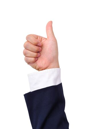 Business mans thumb up hand sign isolated on white photo