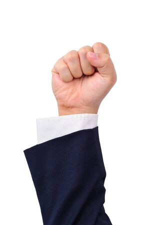 Business mans strength hand sign isolated on white photo