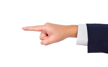 Business mans hand  pointing isolated on white photo