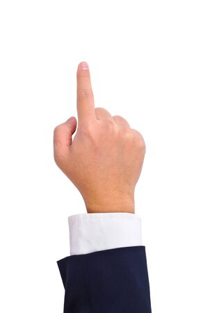 Business man's hand touching screen  isolated on white