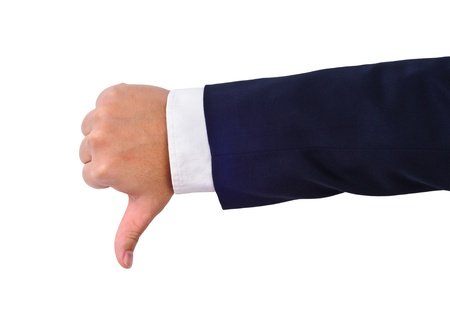 Business mans thumb down hand sign isolated on white photo