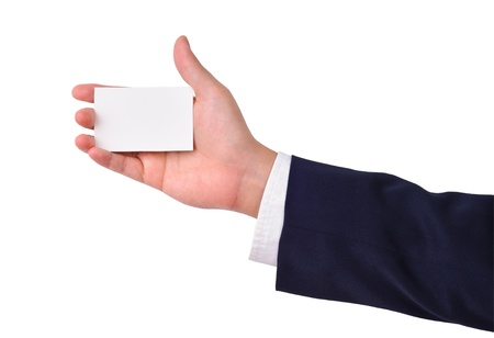 Business mans hand and a card isolated on white photo