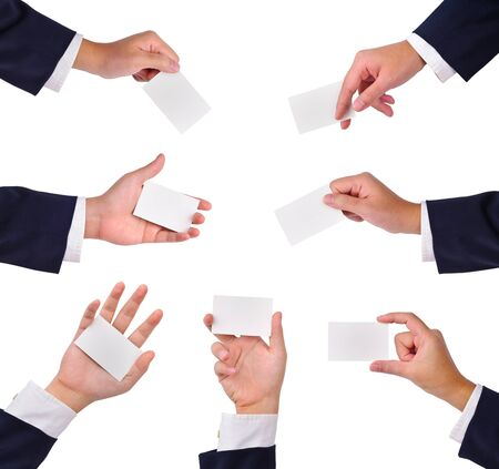 Collection of blank cards in a hand isolated on white. These and other gestures are also available in full size in my portfolio.