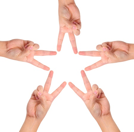 joined hands: hands create star shape isolated on white. Stock Photo