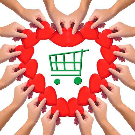 Conceptual image, love green shopping photo