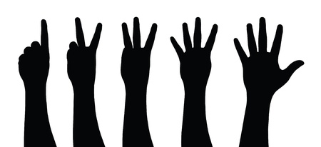 Collection of counting hands silhouettes Vector