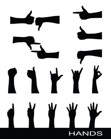 dedo indice: Colecci�n de siluetas de signo de mano Vectores