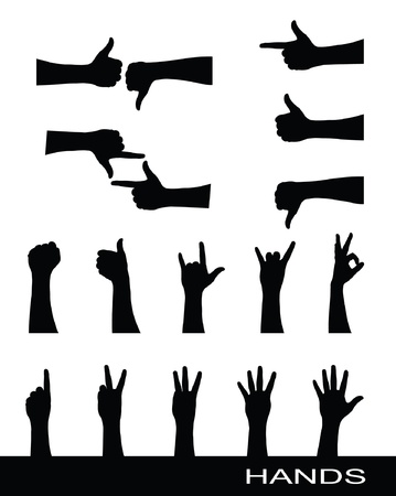pointing hand: Collection of hand sign silhouettes