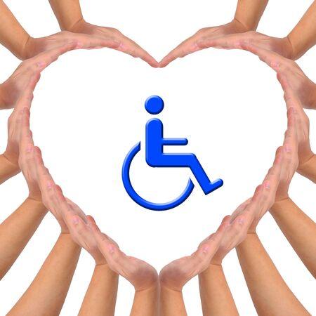 Imagen conceptual, amor para minusválidos a persona. Manos haciendo una forma de corazón sobre fondo blanco con el icono azul de silla de ruedas en el medio. Foto de archivo - 9801042