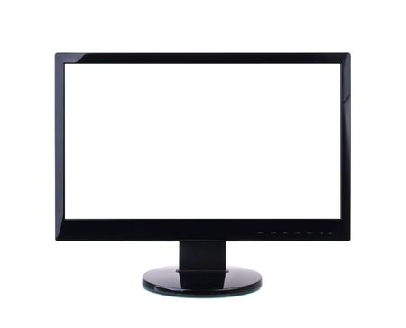 flat panel monitor: Computer Monitor with blank white screen. Isolated on white background.