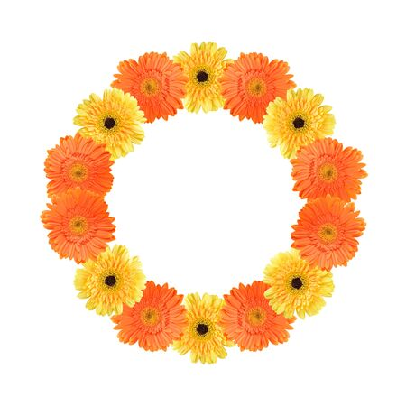 gerber: Orange and yellow daisy-gerbera flowers create a circle frame on white background Stock Photo