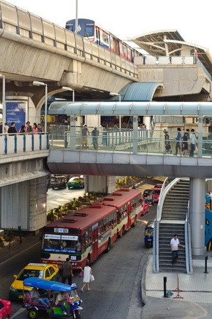 BANGKOK - NOVEMBER 12 : People of Bangkok and tourists at sky train station on November 12, 2011 in Bangkok. Stock Photo - 11186260