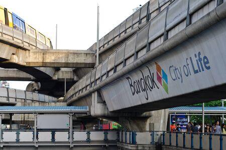 BANGKOK - NOVEMBER 12 : People of Bangkok and sky train system on November 12, 2011 in Bangkok. Stock Photo - 11186258