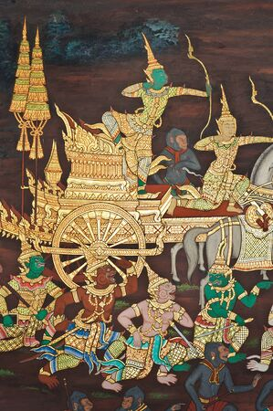 Wall painting at Grand Palace, Bangkok, Thailand. The painting is about Ramayana epic story.