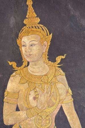 grand palace: Wall painting of Thai female angel at Grand Palace, Bangkok, Thailand. Editorial