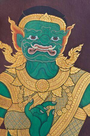 Wall painting of Thai female giant at Grand Palace, Bangkok, Thailand.